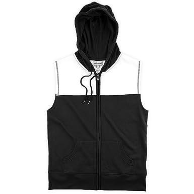 online store b8b22 c66fc Amazon.com  Youth Black and White Sleeveless Zip Hoodie  Clothing