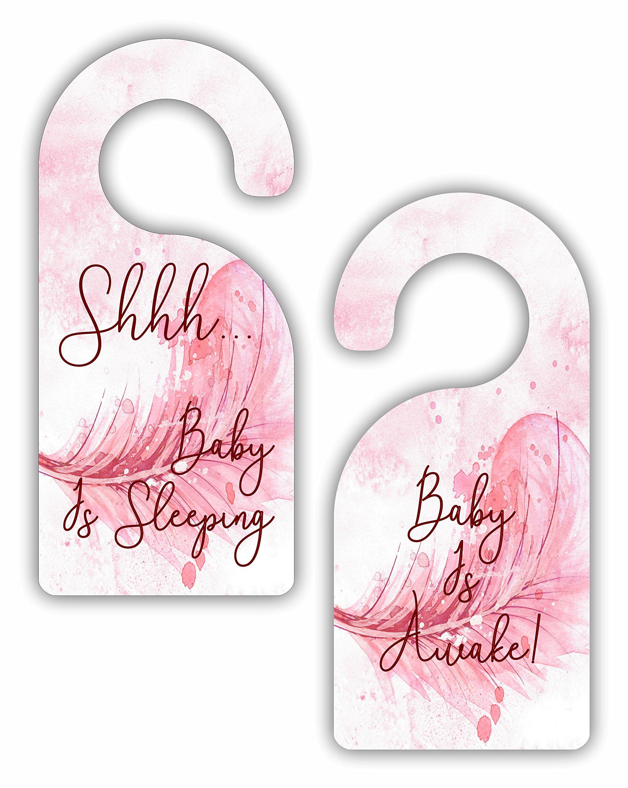 Shhh Baby is Sleeping - Baby is Awake! - Girls Nursery Room Door Sign Hanger - Double Sided - Hard Plastic - Glossy Finish