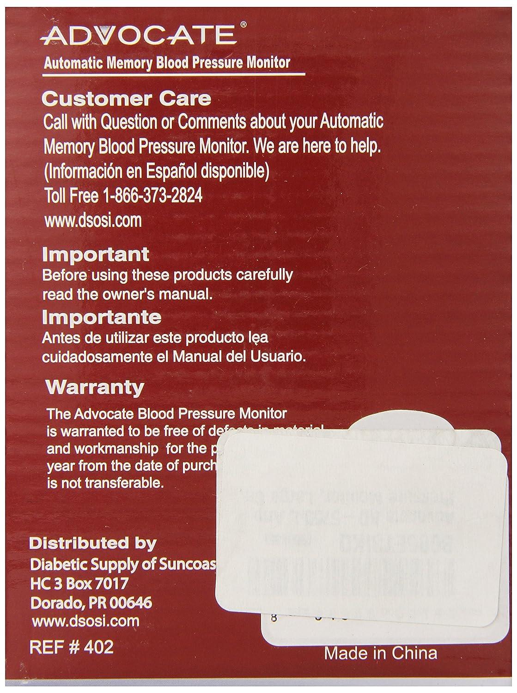 Amazon.com: Advocate KD-5750 L Arm Blood Pressure Monitor, Large Cuff: Health & Personal Care