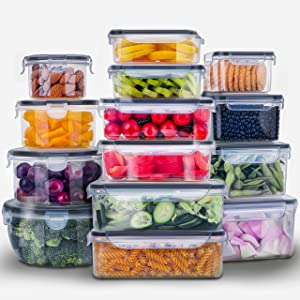 28 Pieces Food Storage Containers w/Lids EXTRA LARGE, Freezer Containers for Food BPA-Free Meat Fruit Vegetables Plastic Containers for Food Storage Airtight Leak-Proof Food Containers Kitchen Pantry