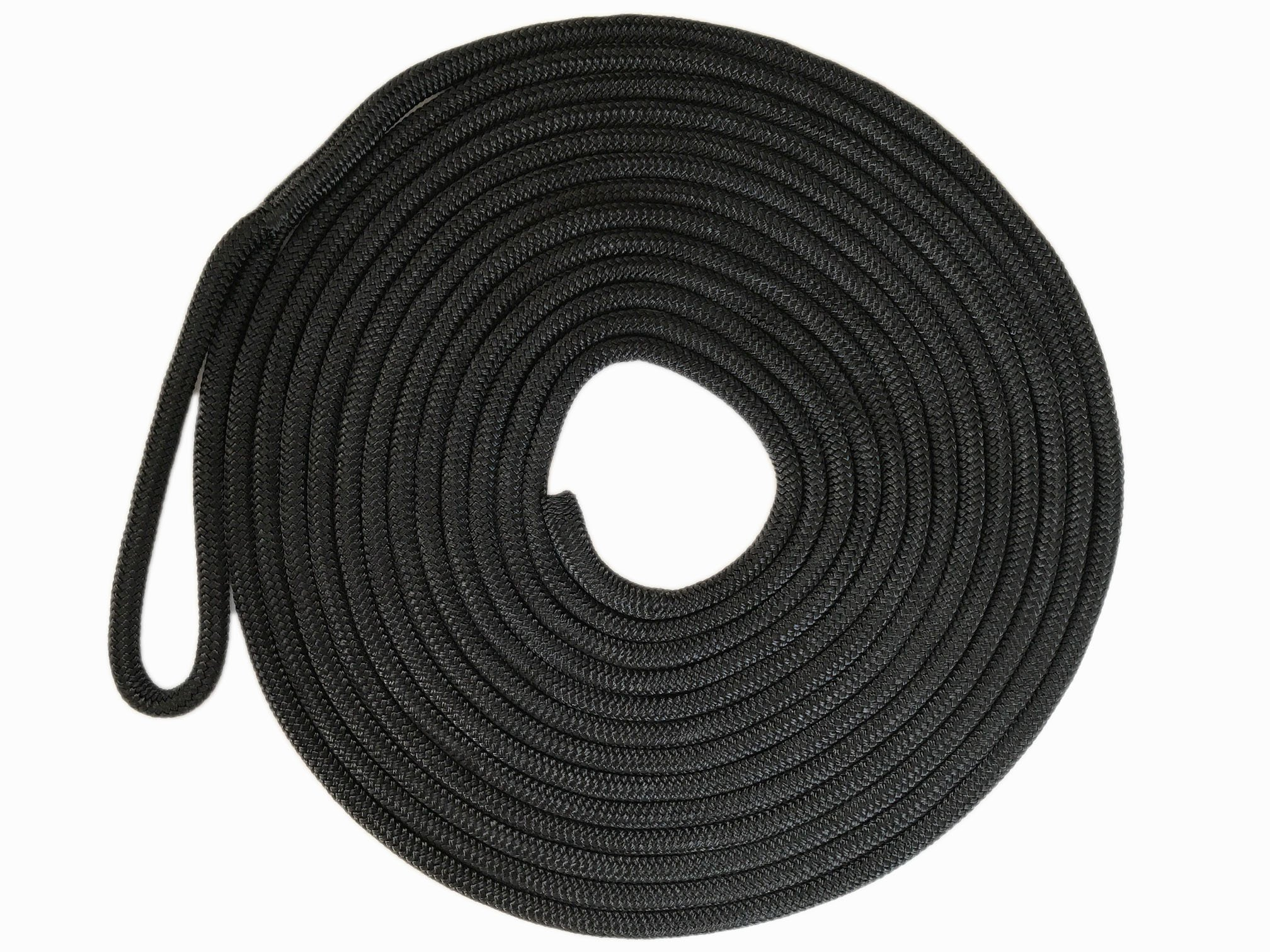 Knotty Girlz 5/8'' Double Braid Nylon Dock Line Yacht Rope or Mooring Line 100ft, 50ft, 25ft. or 15ft. Overall Length with Eye Spliced Loop (Black, 15ft.)