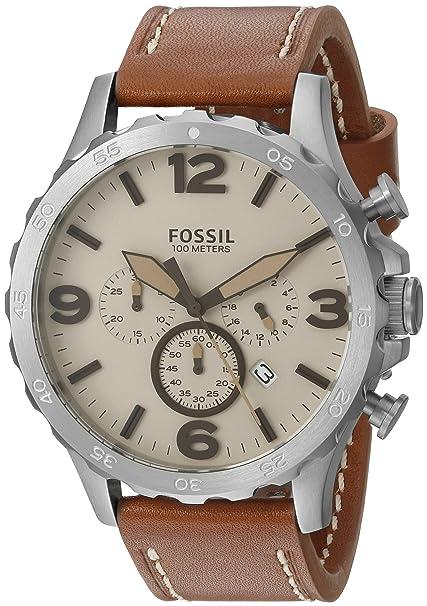 Fósil de Hombre jr1503 Reloj de Acero Inoxidable con Banda de Cuero marrón: Amazon.es: Relojes