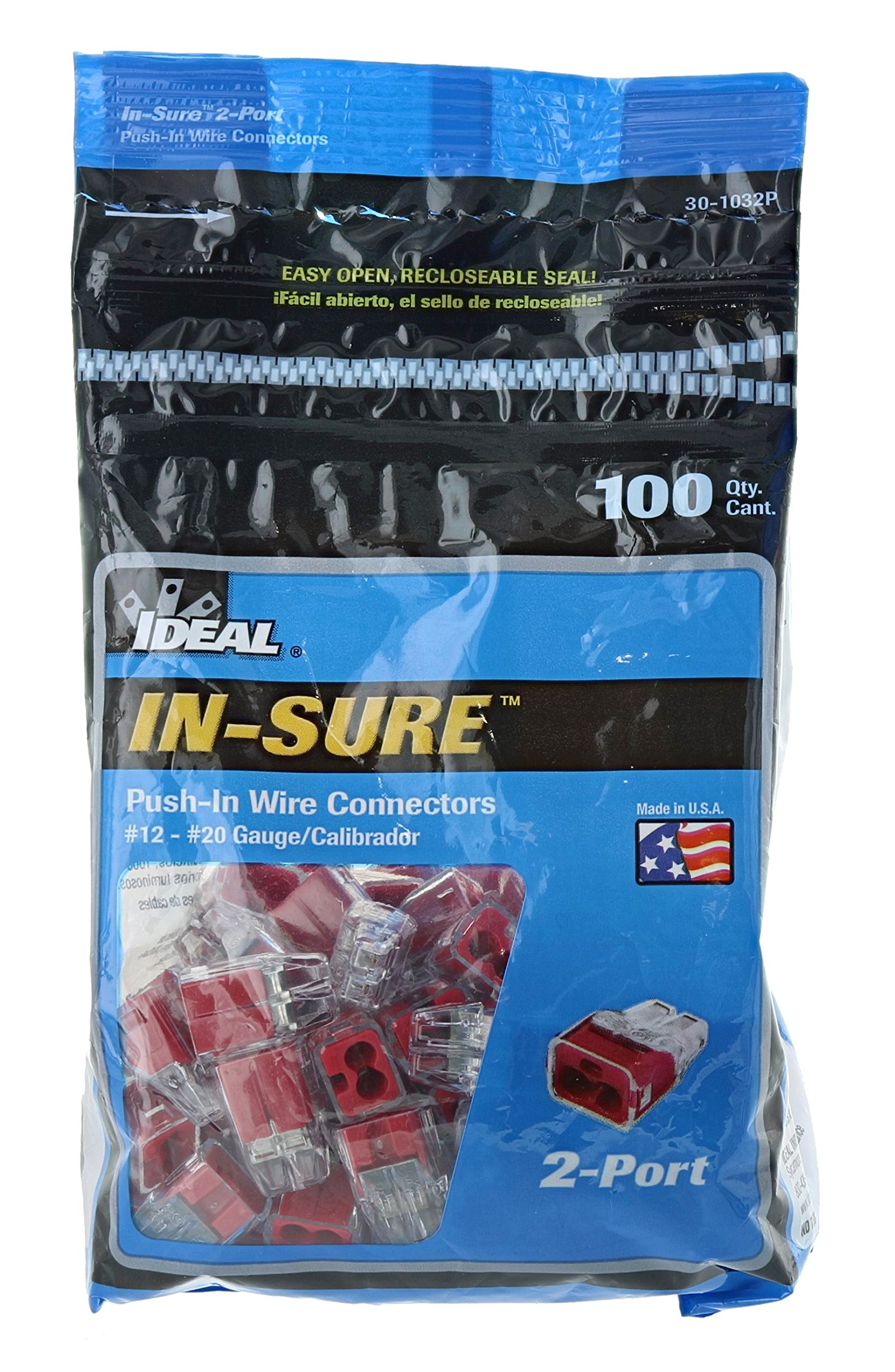 Ideal In-Sure 30-1032P 32 Red Non-Twist 2 Port Connector for Solid, Stranded, and Tin Bonded Wire (100 Pack)