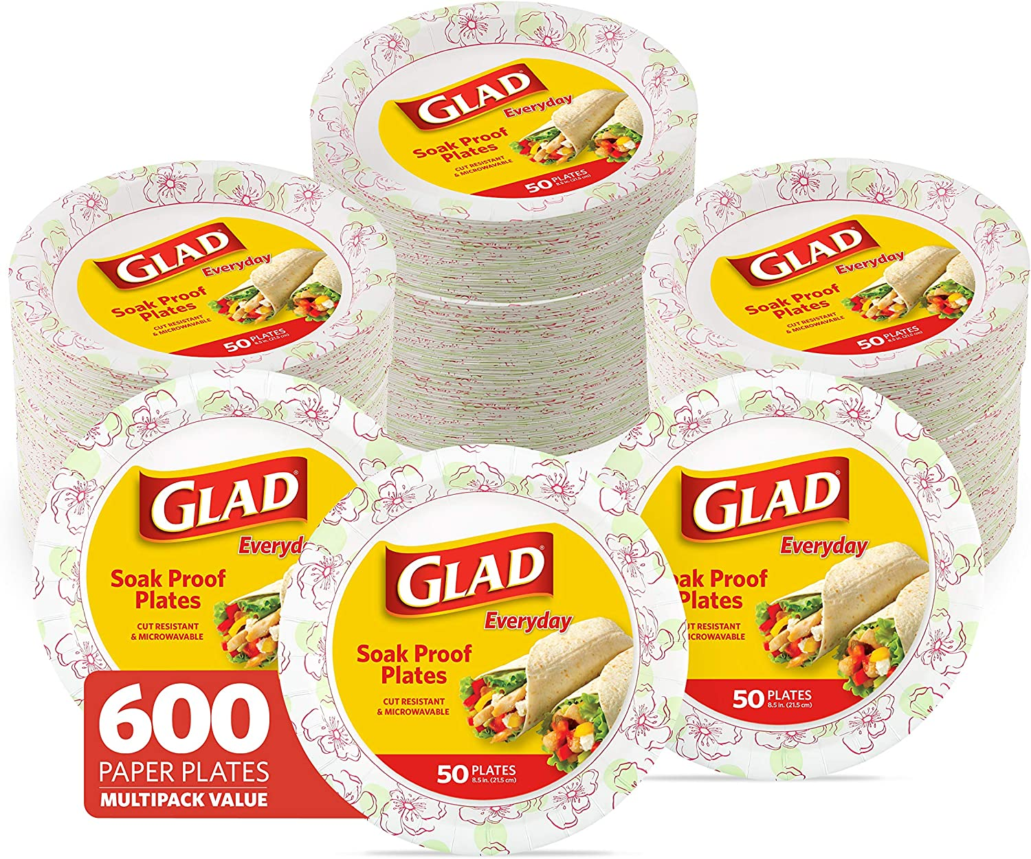 Glad Round Disposable Paper Plates for All Occasions | Soak Proof, Cut Proof, Microwaveable Heavy Duty Disposable Plates | 8.5