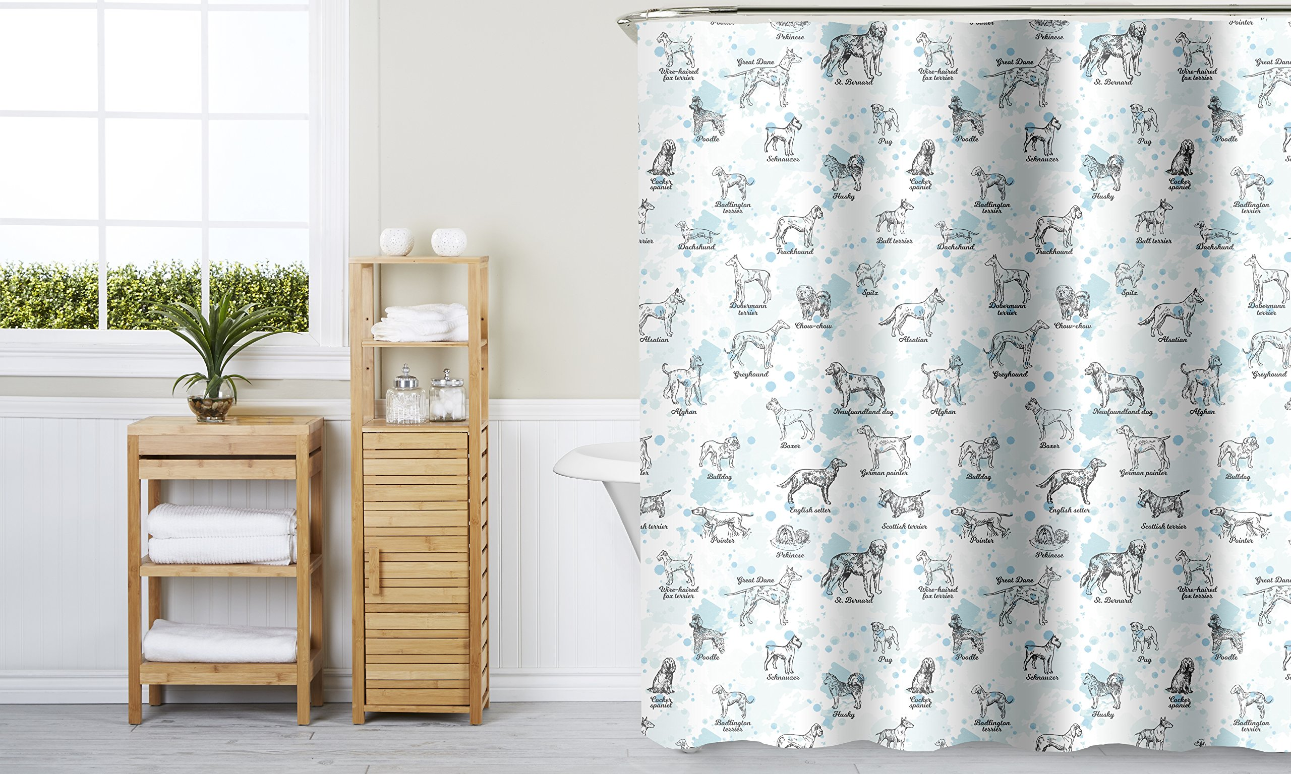 Indecor Home Fabric Hooks-Dog Breeds Shower Curtain, Multi