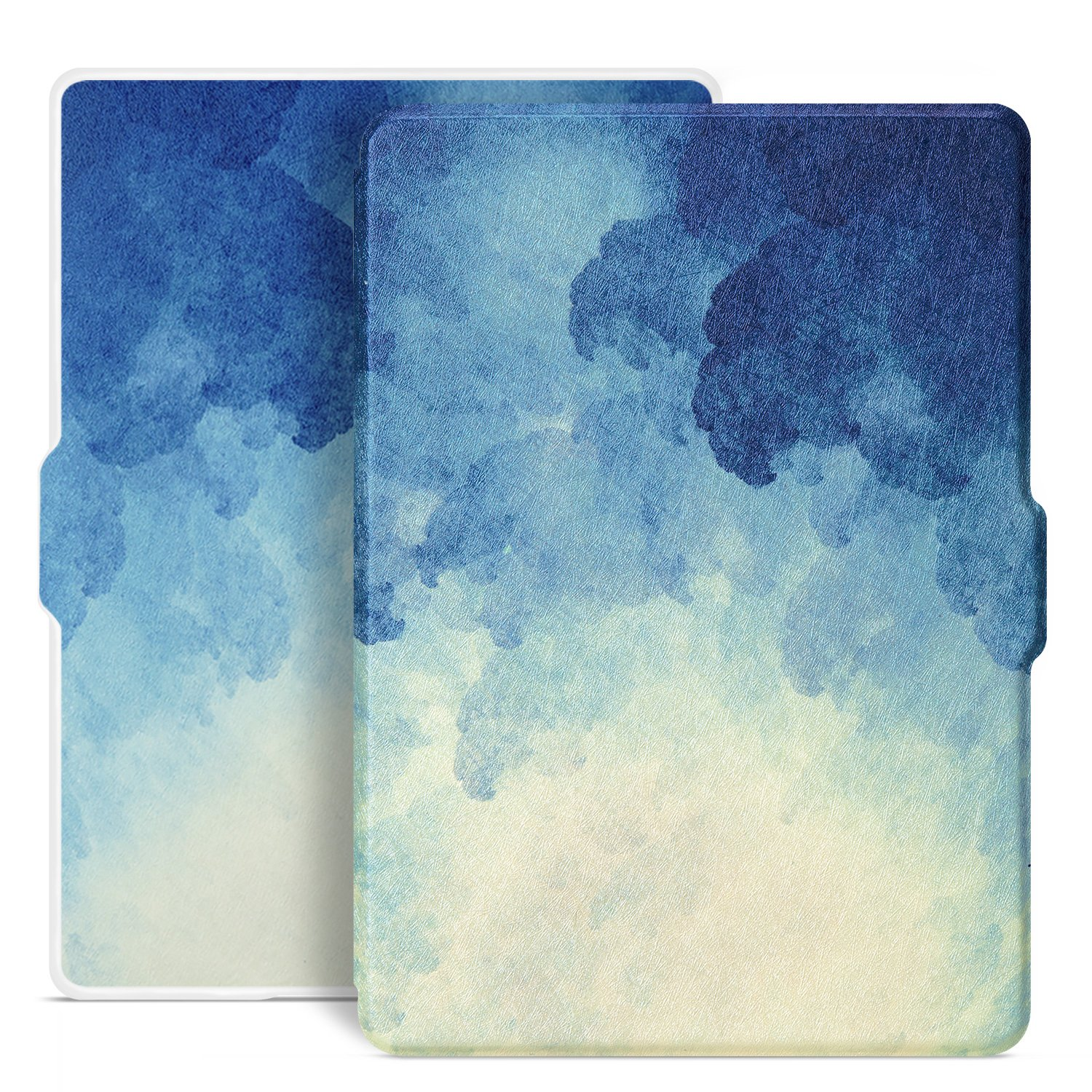 Ayotu Colorful Shell for All-New Kindle(8th Generation, 2016 Release) E-reader Auto Wake and Sleep Smart Protective Cover,Case for All-New Kindle (8th Generation) White Shell K8-9 The Blue Moonlight