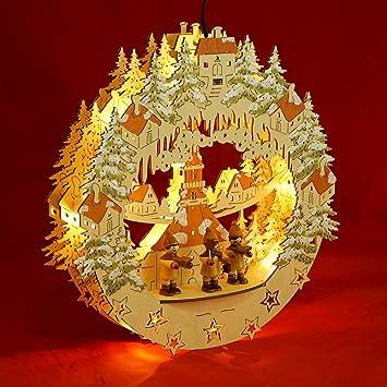 weihnachtliches Fensterbild aus Holz LED Stern mit Kirche Beleuchtetes