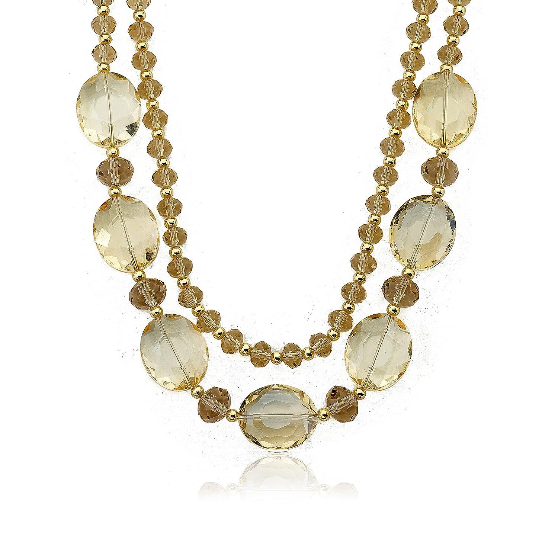 Riccova Avant-Garde Aqua Faceted Glass 2 Strand Necklace//