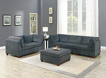 Amazon.com: Living Room Furniture Modern Modular 6pc Sofa ...