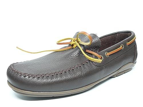 Zapato Casual Hombre Tipo Mocasin DELTELL en Piel Color Marron Pasado Tira Color Cuero - 970-1 (44, Marron): Amazon.es: Zapatos y complementos