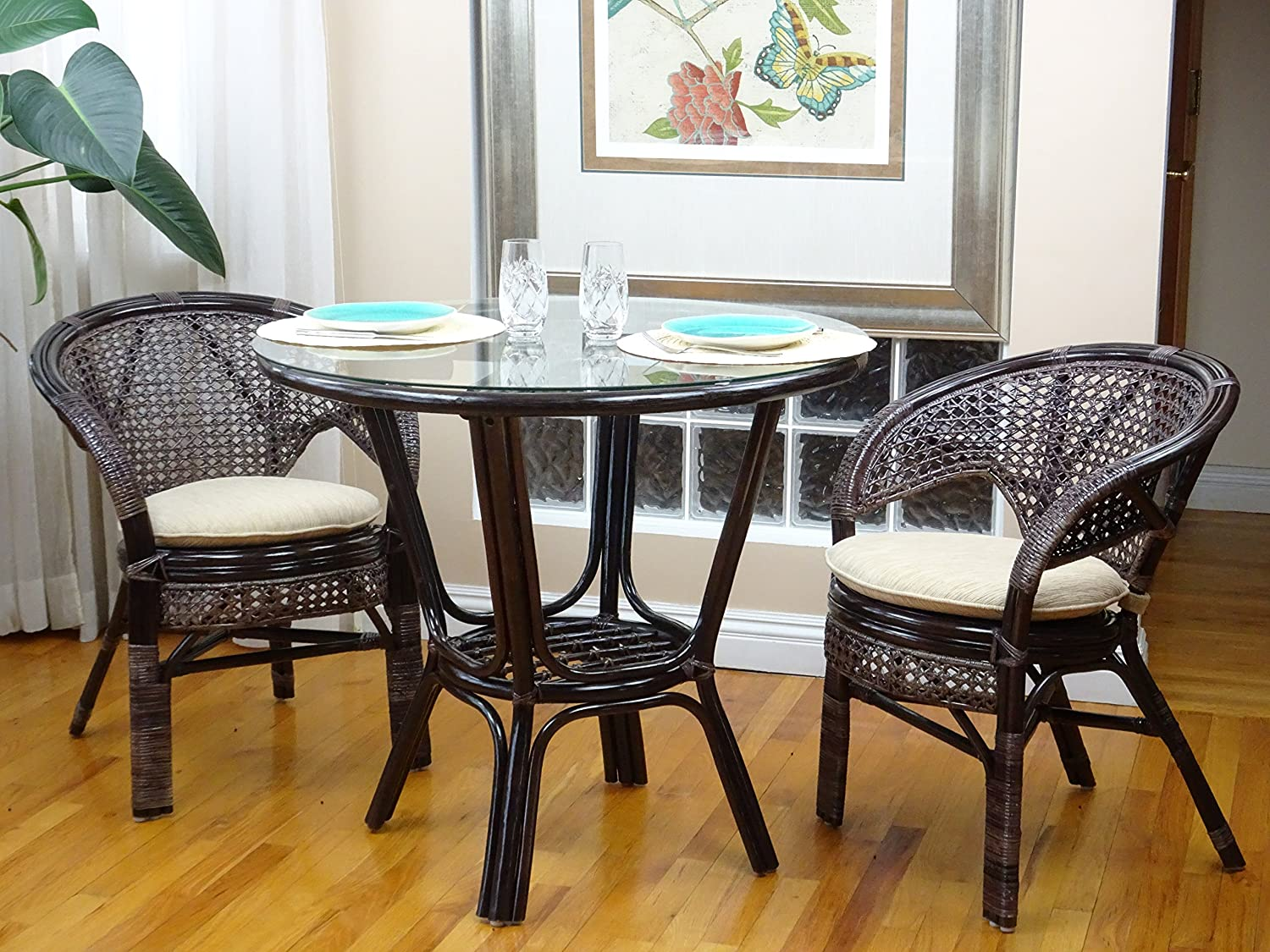 Amazon 3 Pcs Pelangi Rattan Wicker Dining Set Round Table Glass Top 2 Arm Chairs Dark Brown Color Garden Outdoor