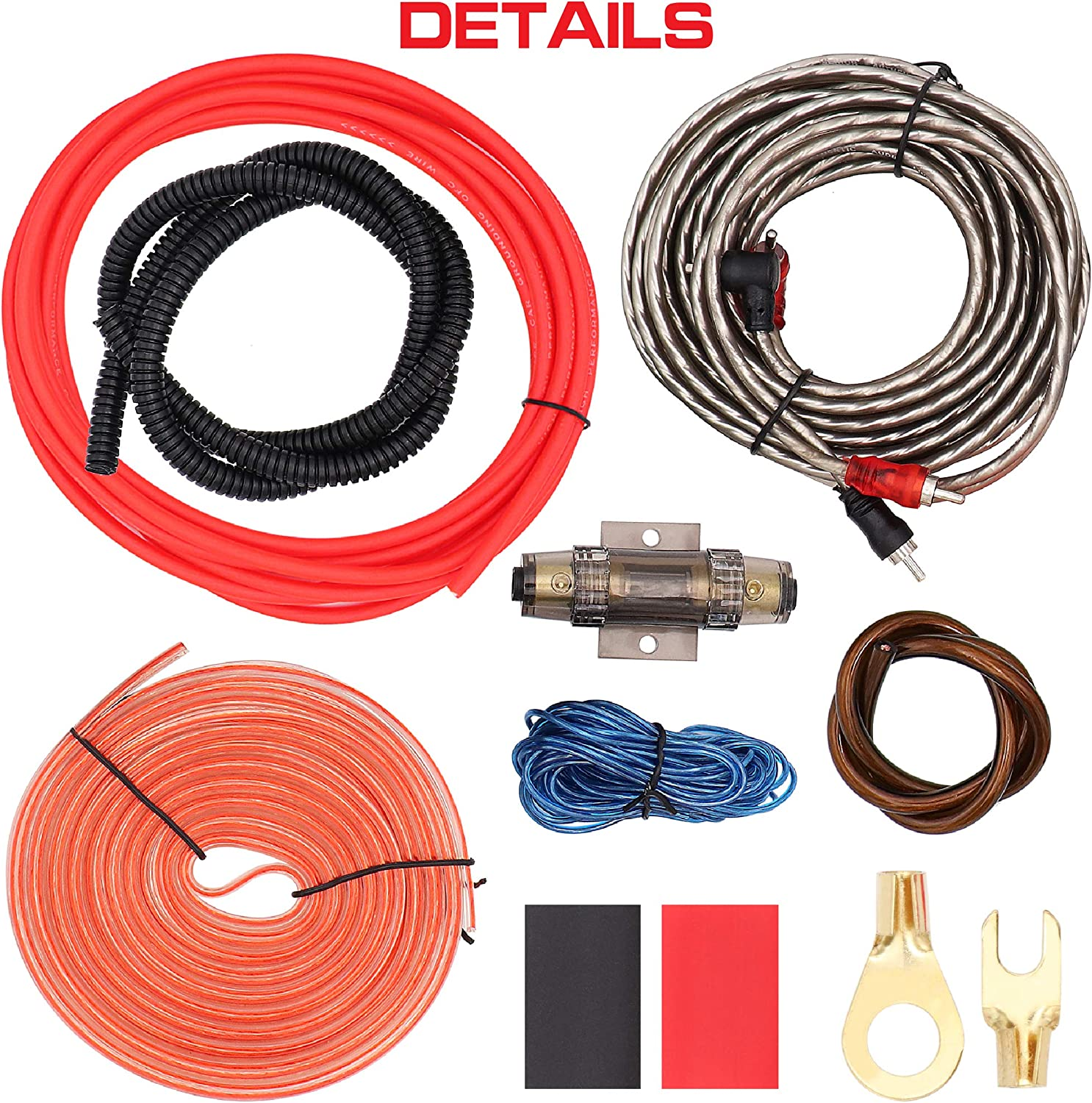 Car Amp Wiring Kit Helps You Make Connections and Brings Power to Your Radio Subwoofer and Speakers LEIGESAUDIO 8 Gauge Subwoofer Wiring Kit Ture 8 AWG Amplifier Installation Wiring Kit