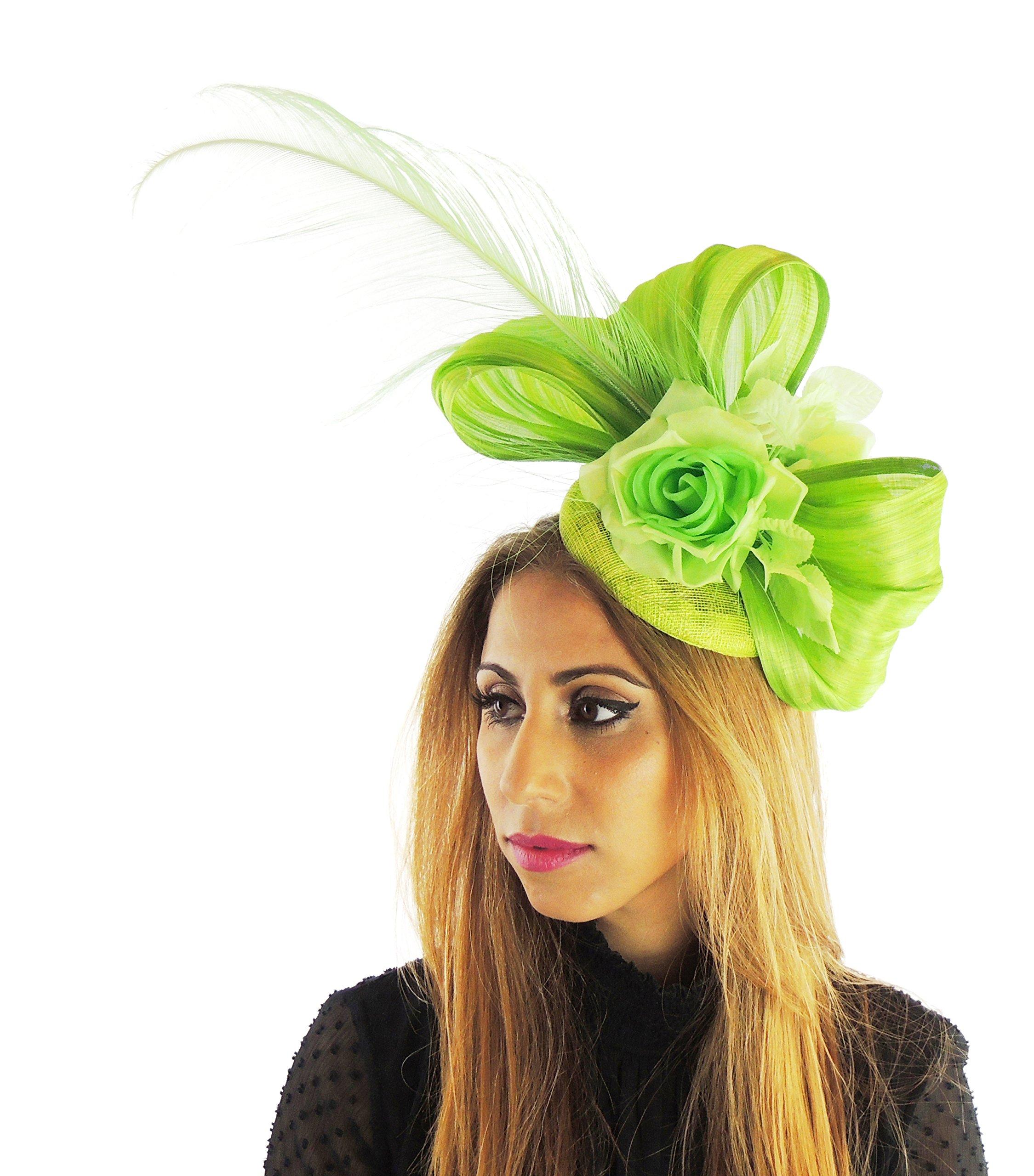 Hats By Cressida Silk Sinamay & Silk Flower Elegant Ladies Ascot Wedding Fascinator Hat Lime by Hats By Cressida