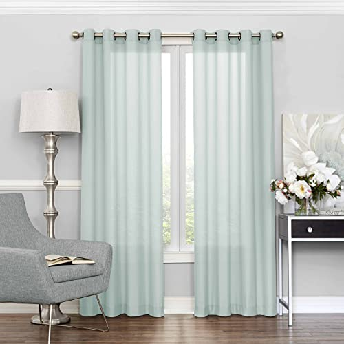 ECLIPSE Sheer Curtains for Bedroom – Liberty 52 x 84 Light Filtering Grommet Top Single Window Panel Curtain Living Room, Mist