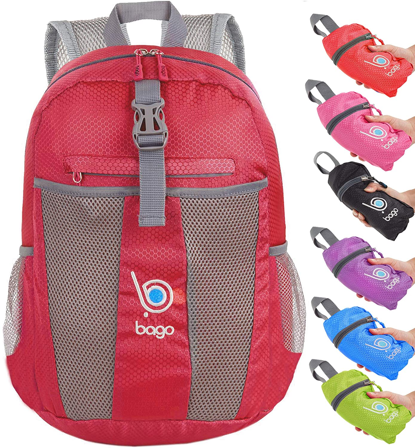 Bago Lightweight Foldable Backpack for Travel and Sport - 25L Collapsible Daybag BacPk-25-Black