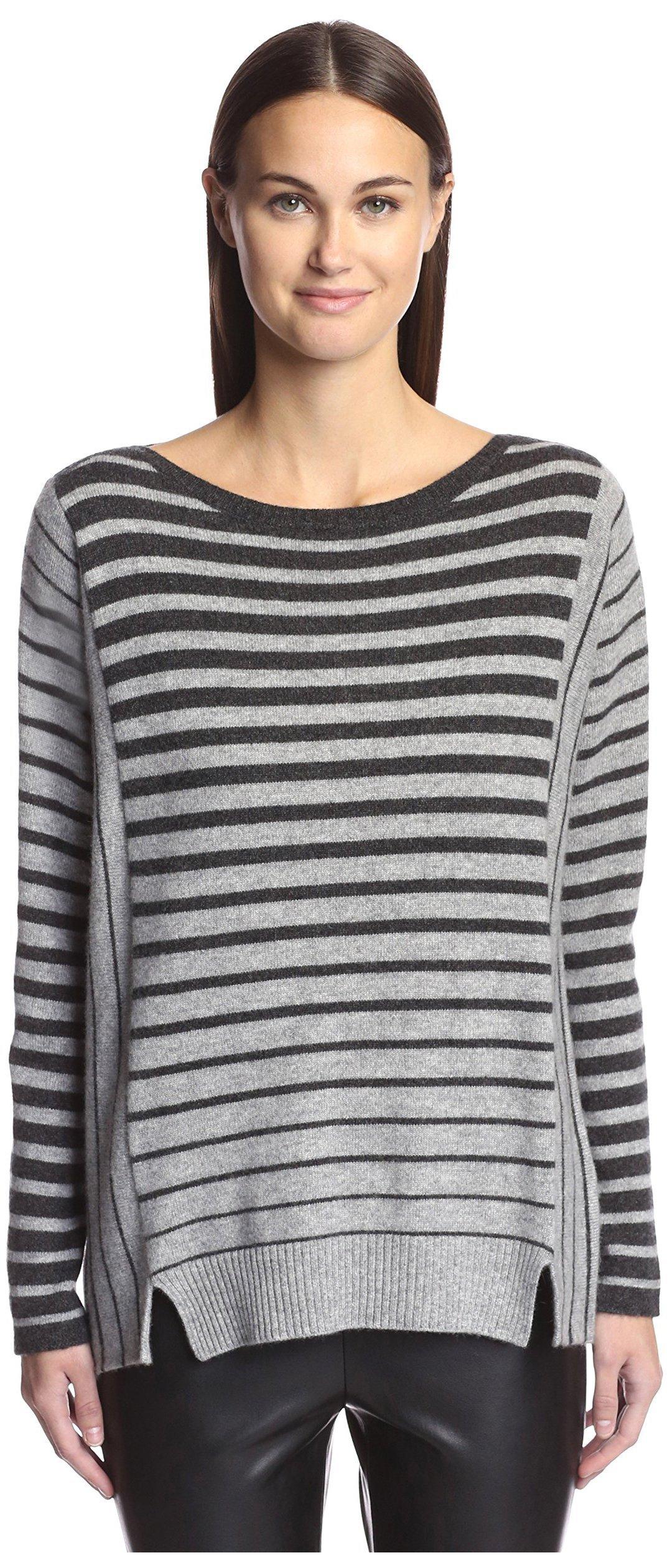 James & Erin Women's Cashmere Striped Boat Neck Sweater, Charcoal/Granite, L