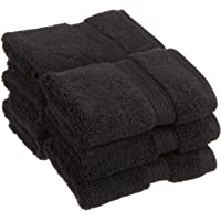 """Superior 900 GSM Luxury Bathroom Face Towels, Made of 100% Premium Long-Staple Combed Cotton, Set of 6 Hotel & Spa Quality Washcloths - Black, 13"""" x 13"""" each"""