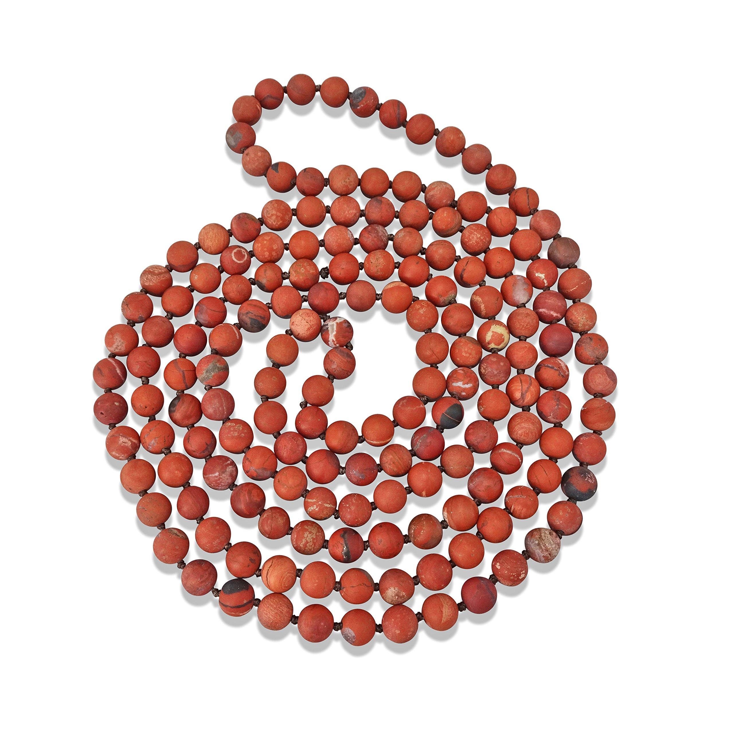 BjB Endless Infinity Style 8MM Semi-precious Genuine Red Jasper Stone Beaded Necklace, 60'' Long.