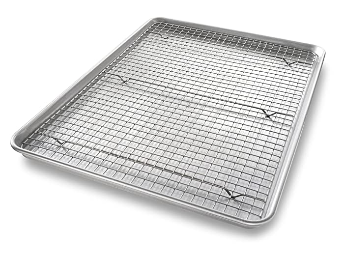 USA Pan 1607CR Bakeware Extra Large Sheet Baking Pan and Bakeable Nonstick Cooling Rack Set, XL Metal
