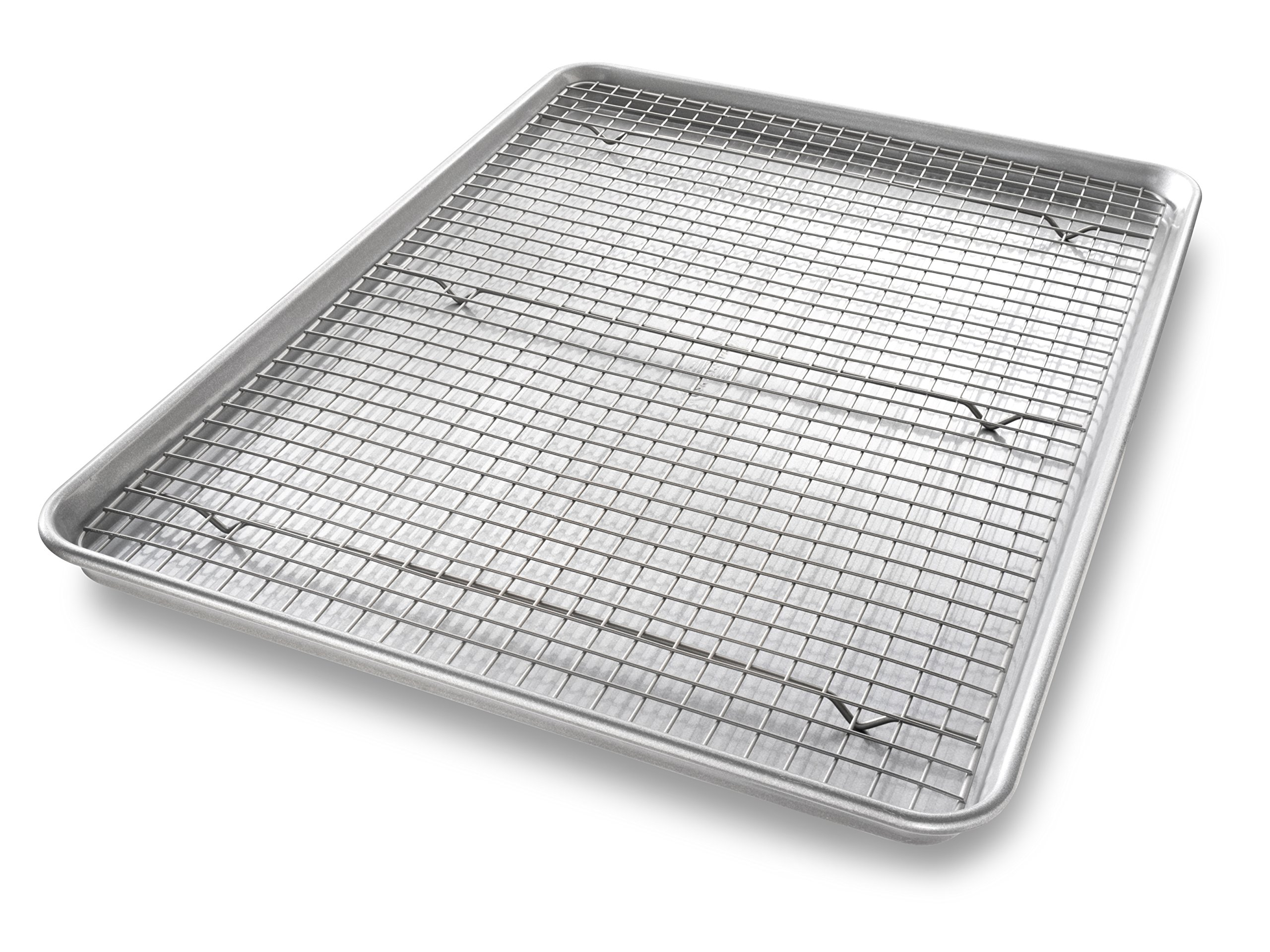 USA Pan Bakeware Extra Large Sheet Baking Pan and Bakeable Nonstick Cooling Rack Set by USA Pan