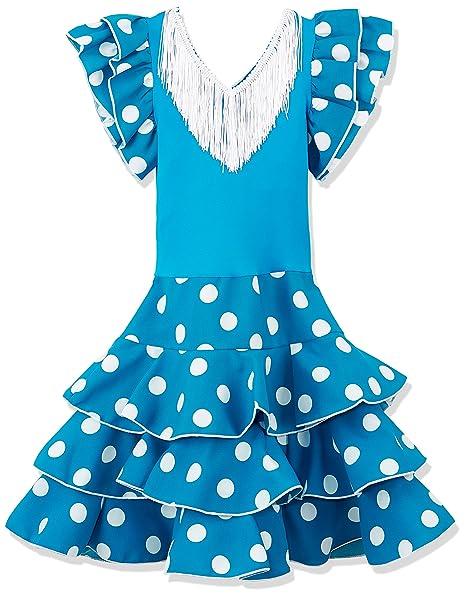 La Senorita Vestido Ropa Flamenco Niño Español Traje de Flamenca Chica/niños Azul Blanco