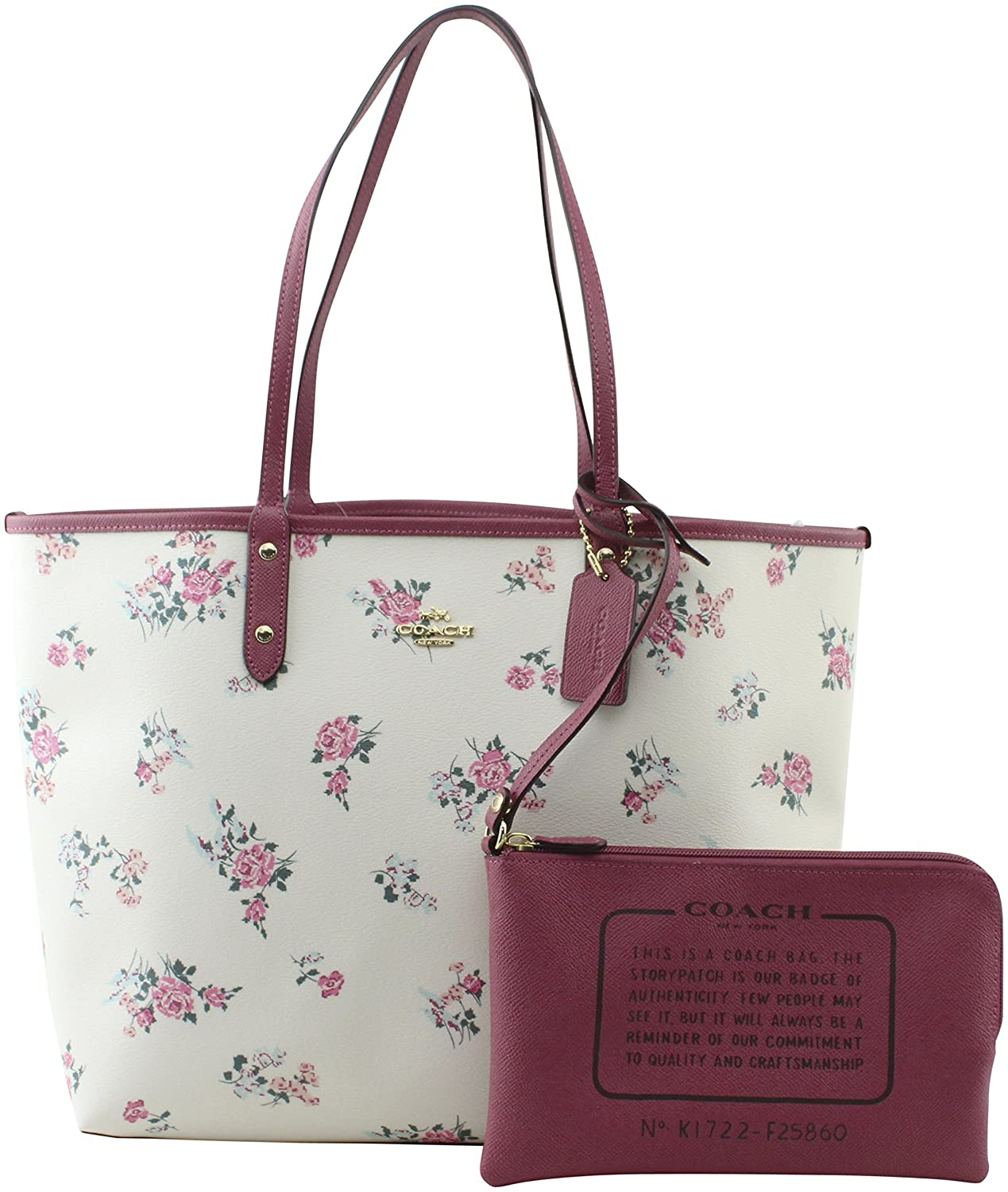 5c946ce1f5 Amazon.com  COACH REVERSIBLE CITY TOTE WITH CROSS STITCH FLORAL ...