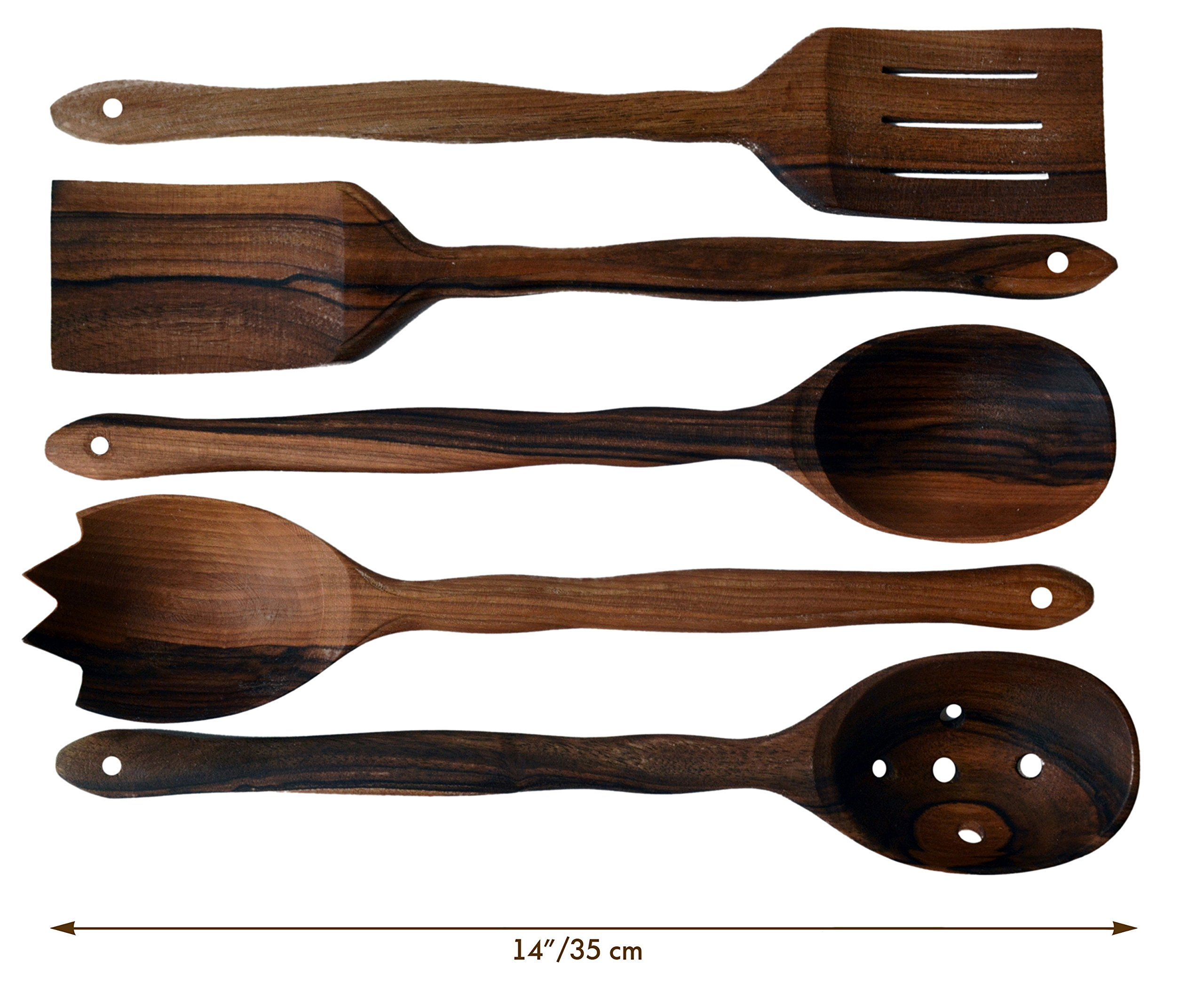 MyFancyCraft Handmade Utensil Set. Wooden Cute Kitchen Utensils Set 14''/35 cm. Walnut Wood Kitchen Supplies & Utensils Big Set of 5 by MyFancyCraft (Image #8)