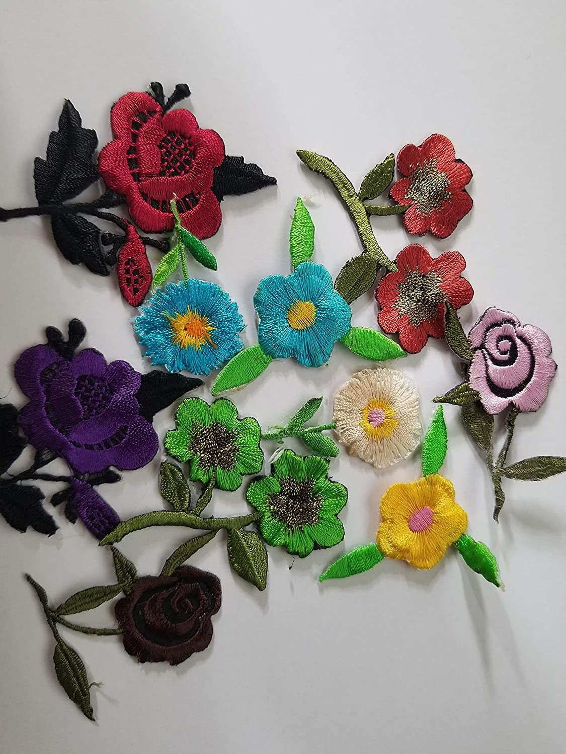 BLACK ROSE FLOWER EMBROIDERED BADGE SEW ON IRON ON PATCH APPLIQUE
