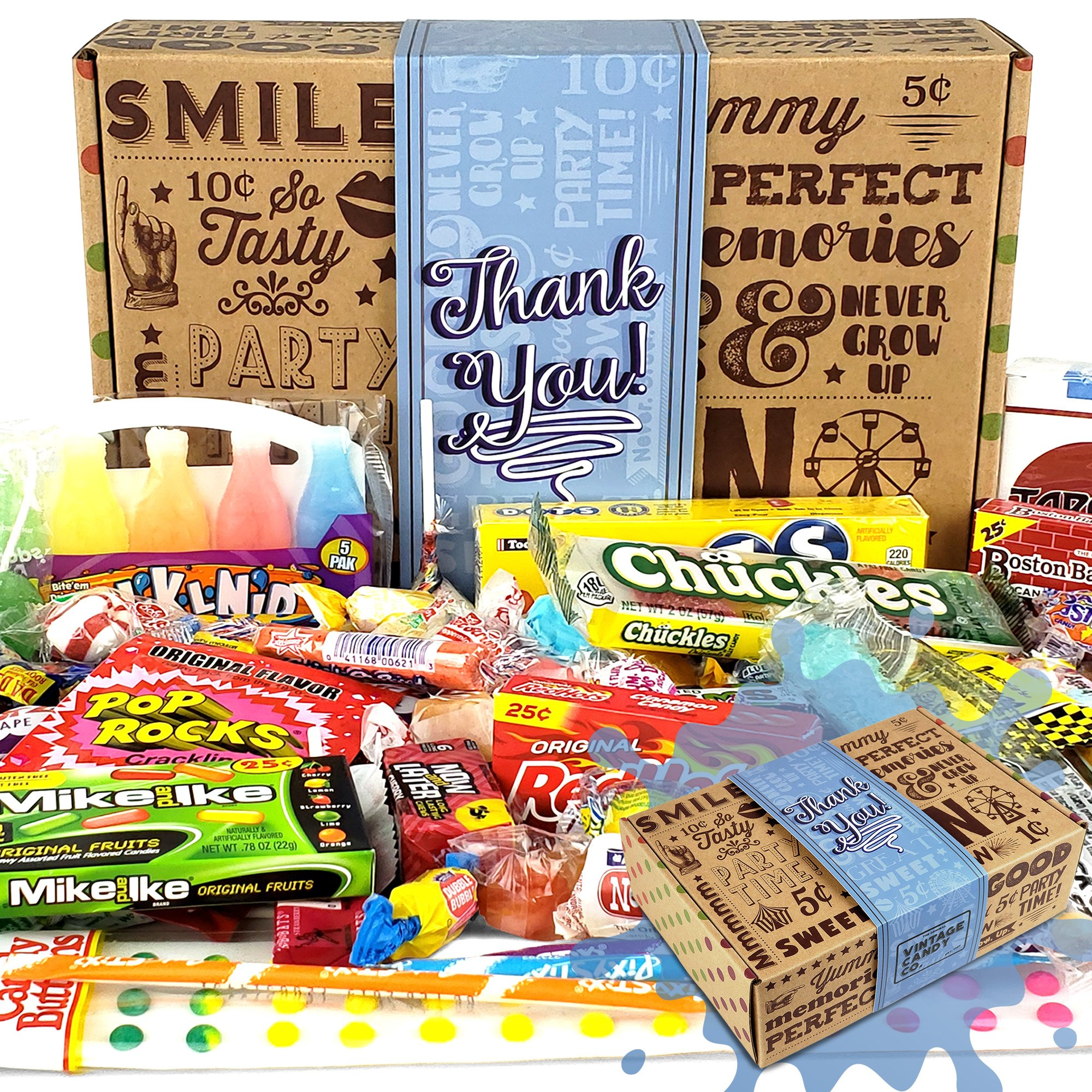 Vintage Candy Co. THANK YOU GIFT BASKET CANDY BOX For Men Or Women | SAY THANKS With A Unique Assortment of Nostalgic Decade Candy PERFECT Gratitude Gift for Women Men Girls Boys Coworkers Teens Etc. by Vintage Candy Co.