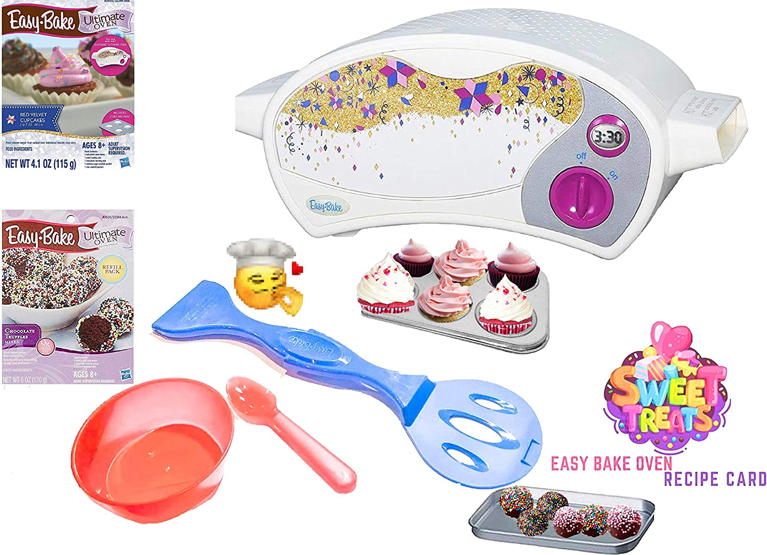 Easy Bake Ultimate Oven Baking Star Edition + 2 Oven Refill Mixes + 2 Sweet Treats Tasty Oven Recipes + Mixing Bowl and Spoon (5 Items Total) (Red)