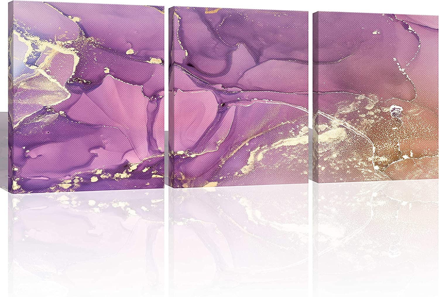 Oiney Purple Bronze Abstract Canvs Wall Art 3 Panels Marble Modern Wall Art Decor for Home,Office,Hotel