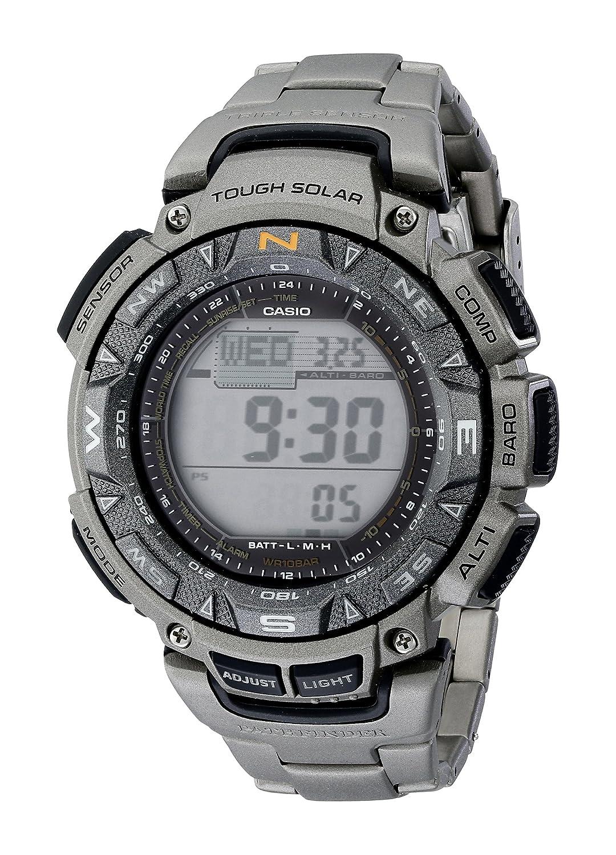 3aa3d275409a Amazon.com  Casio Men s PAG240T-7CR Pathfinder Triple-Sensor Stainless  Steel Watch with Titanium Bracelet  Casio  Watches