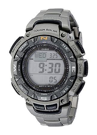 eb687568582b Casio Men s PAG240T-7CR Pathfinder Triple-Sensor Stainless Steel Watch with  Titanium Bracelet