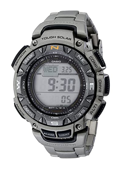 5e751fc92646 Casio Men s PAG240T-7CR Pathfinder Triple-Sensor Stainless Steel Digital  Watch with Titanium Bracelet