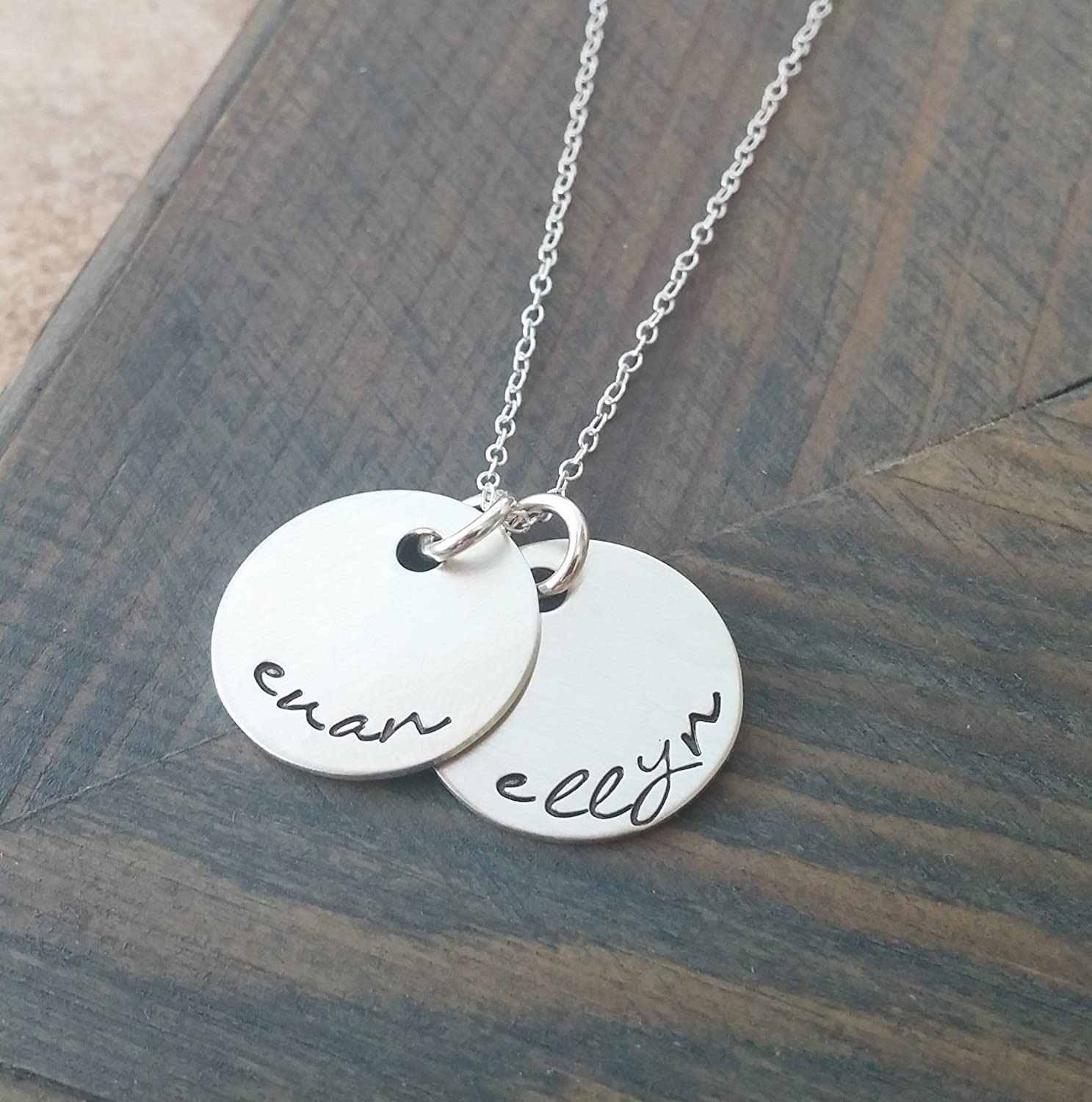 Hand Stamped Jewelry//Personalized Necklace//Necklace with Kids Names//Sterling Silver Disc Necklace