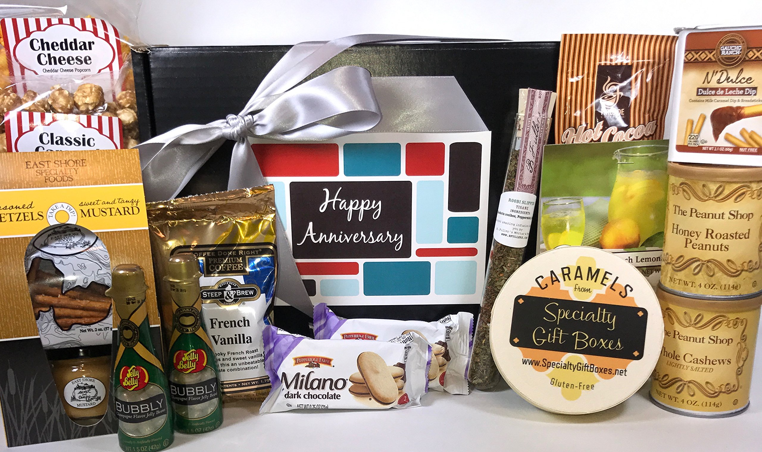 Gourmet Happy Anniversary Gift Basket Box Prime - Almost 4 Pounds - Remember a Special Couple with this Special Box - Great for 25th 25 and 50th 50 Marriage Anniversaries and also Work Anniversaries! by Specialty Gift Boxes (Image #1)