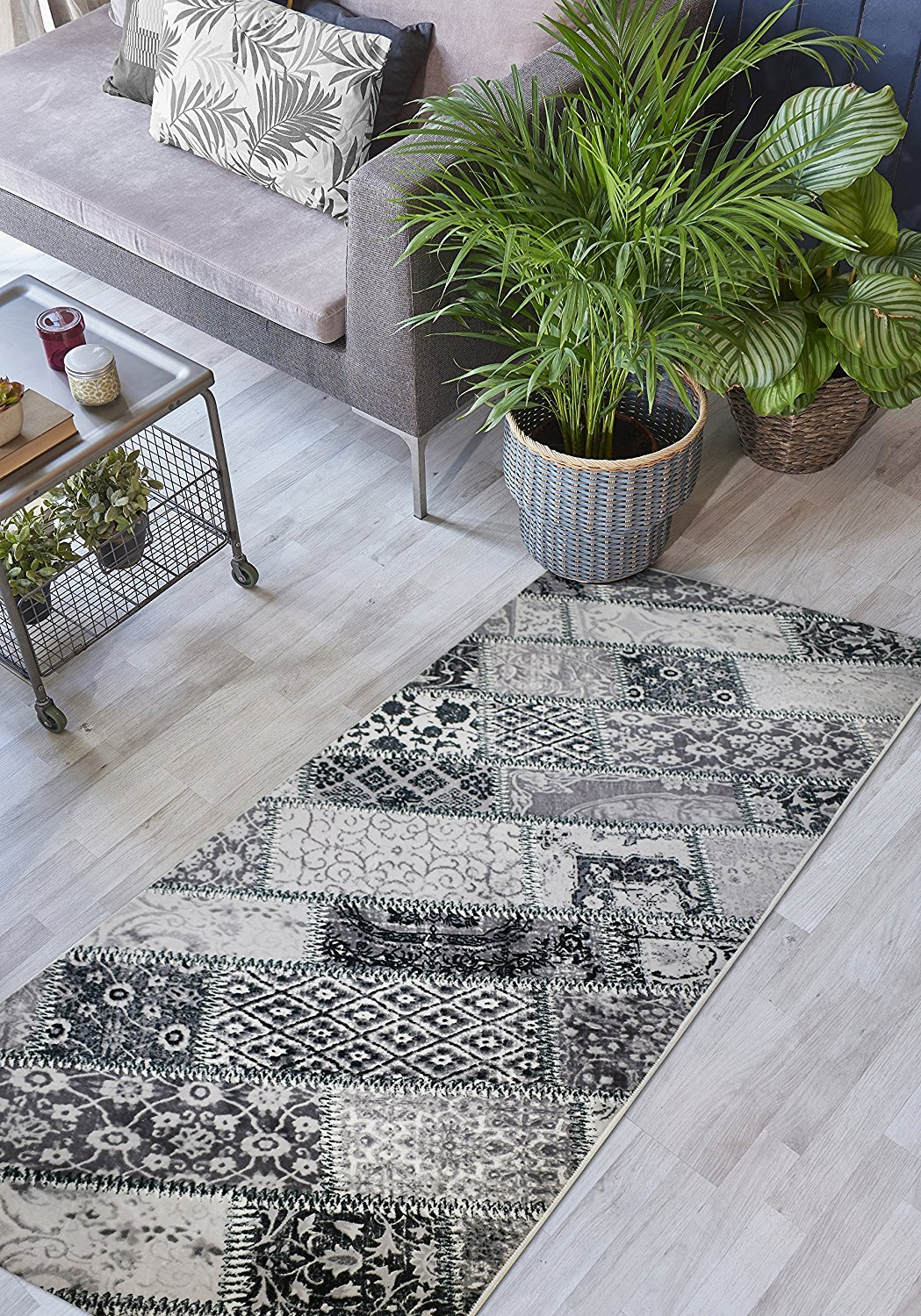 Custom Size Patchwork Hallway Runner Rug Non-Slip (Slip Resistant) Rubber Back, 31 Inch Wide x Your Choice of Length Size Many Color Options, Amber Collection, Black, 31 inch X 5 feet
