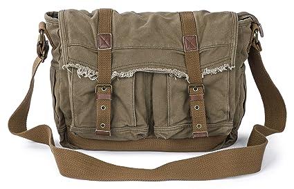 0b6519ba8 Image Unavailable. Image not available for. Colour: Gootium Canvas Messenger  Bag - Vintage Shoulder Bag Frayed Style Satchel