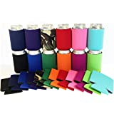 Beer Can Sleeves, Set of 12 Multi color blank collapsible can insulator coolers, coolies for cans or bottles,Beer,soda, Perfect for all parties.