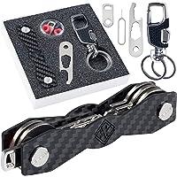 ARFKEY Porte-clés Compact - Organisateur de clés de qualité supérieure - Porte-clés B0NUS avec Boucle pour clé de Ceinture ou de Voiture - Carte SIM et ouvre-Bouteille - 28 clés - Noir