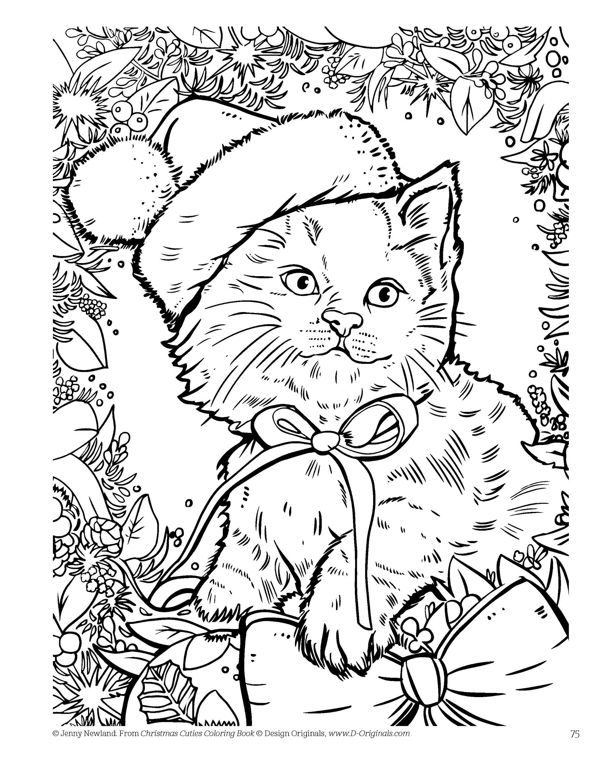 Amazon Christmas Cuties Coloring Book Design Originals Dozens Of Puppies Kittens In Festive Holiday Settings One Side Only Designs On Extra Thick