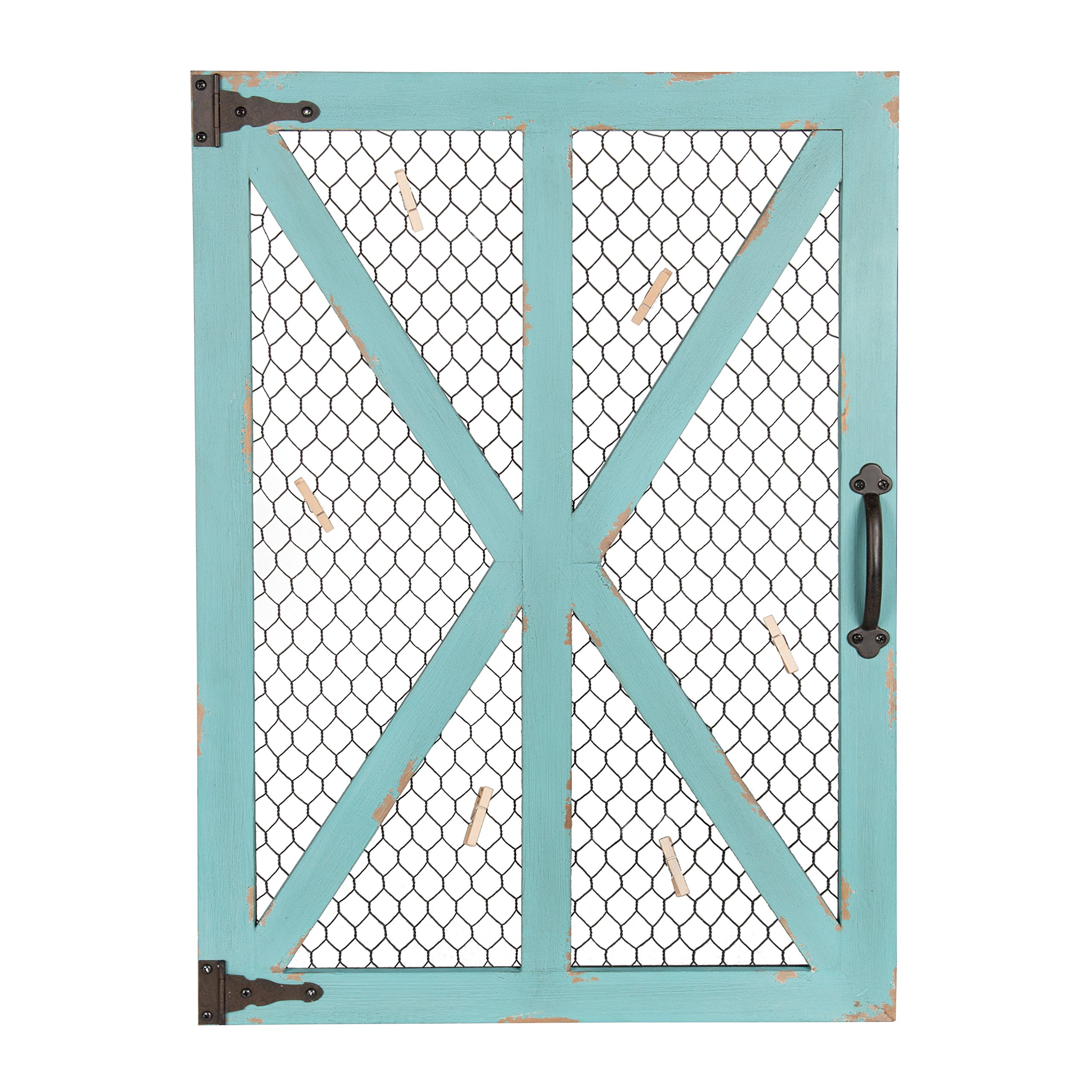 Kate and Laurel Wickett Rustic Farmhouse Wooden Windowpane Photo Collage Clip Wall Frame, Teal