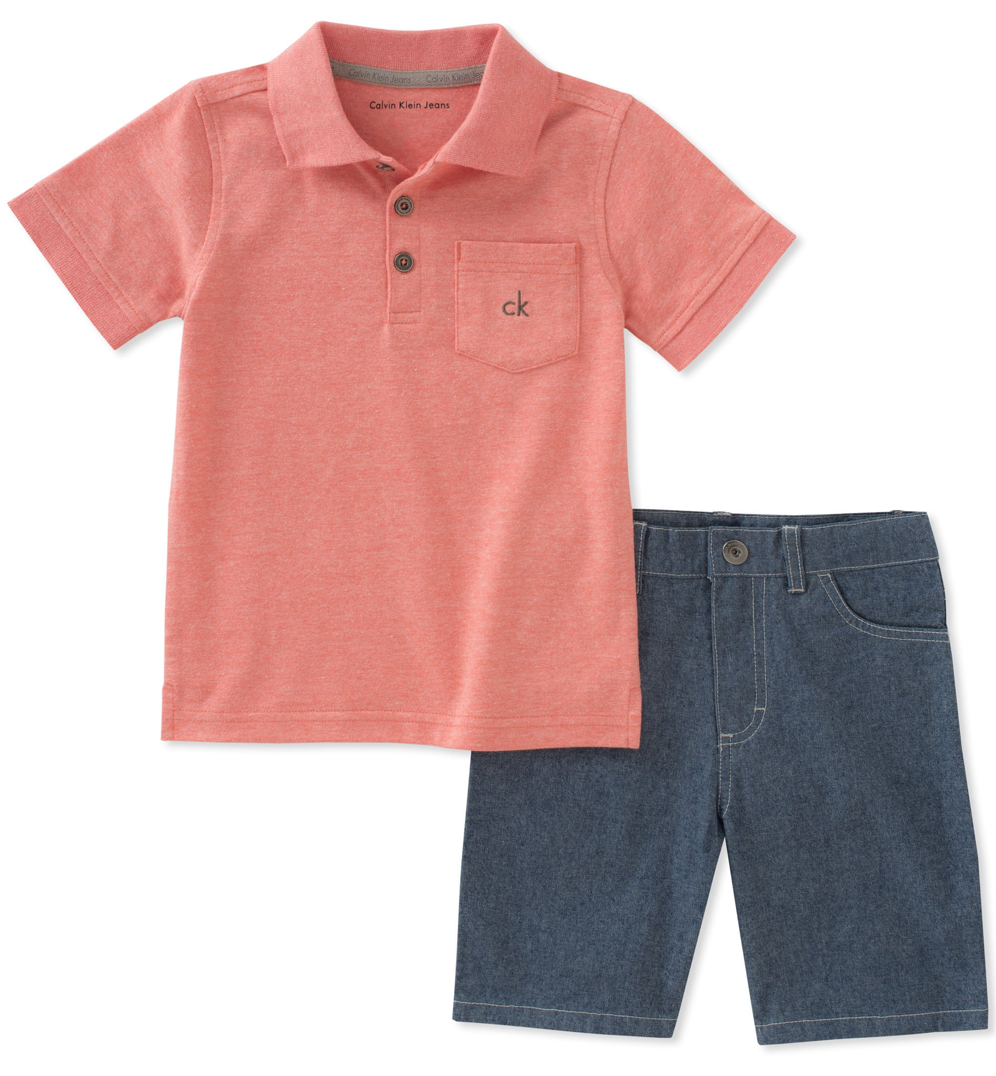 Calvin Klein Boys' Toddler 2 Pieces Polo Shorts Set, Orange, 2T