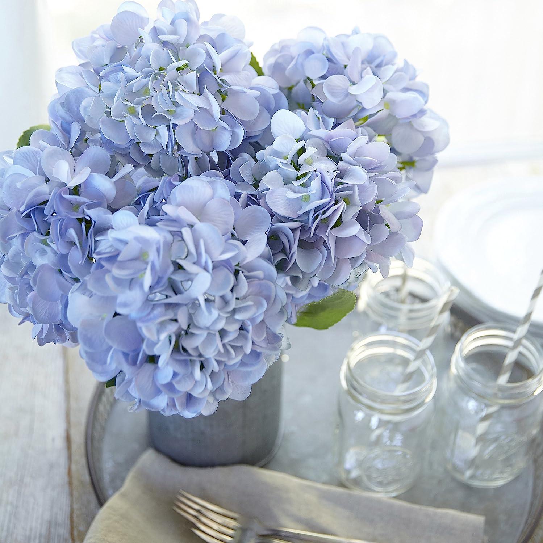 Amazon Com Butterfly Craze Artificial Hydrangea Silk Flowers For Wedding Bouquet Flower Arrangements Blue Color 3 Stems Per Bundle Home Kitchen