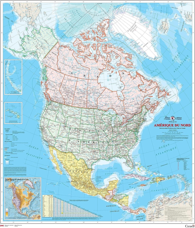 amerique du nord carte Amazon.: Amérique du Nord   Carte Murale   L'Atlas du Canada