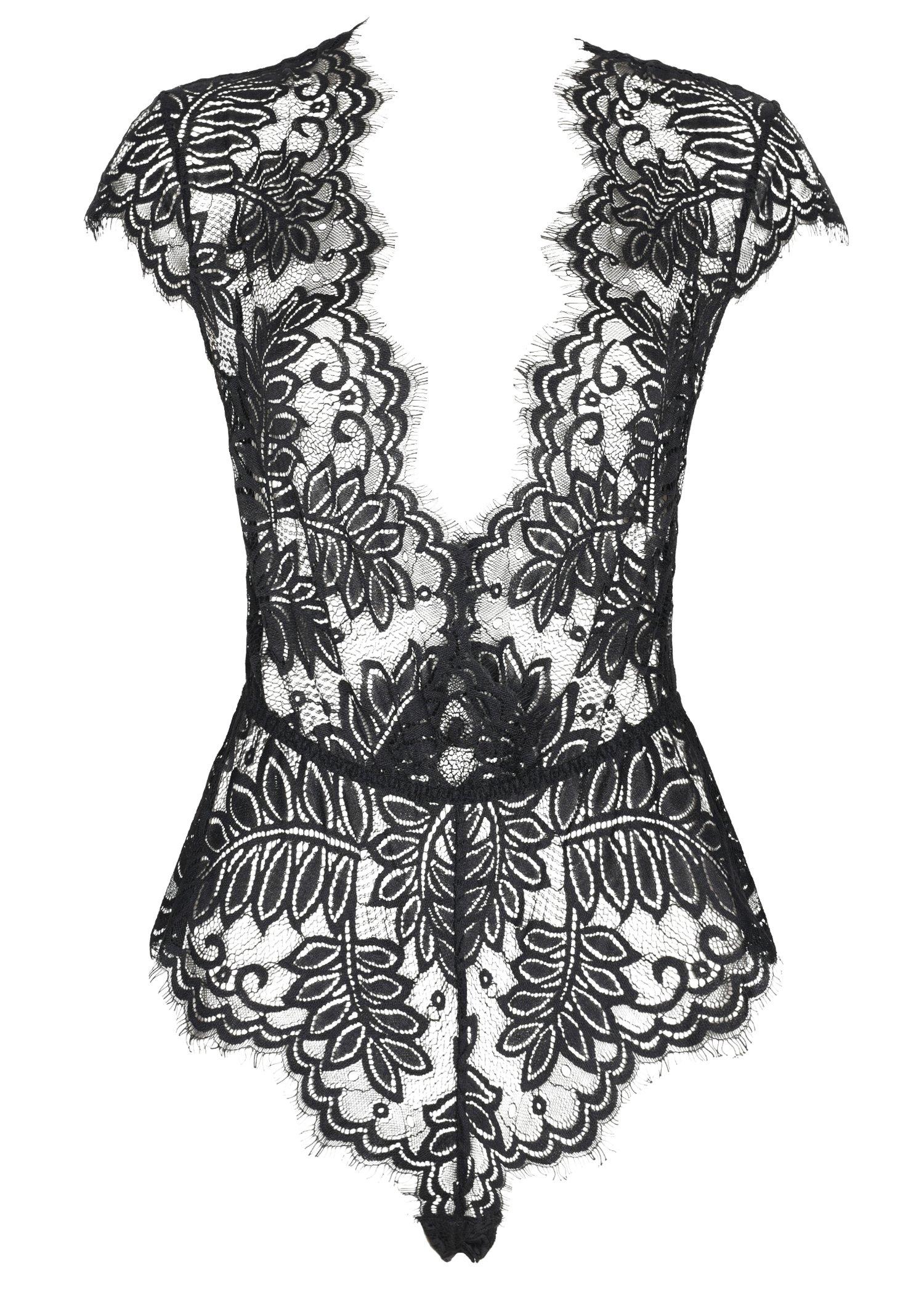 AvaLolita Women's Lingerie Floral Lace Bodysuit Deep V Babydoll M Black