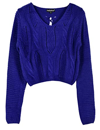 aec8fb7fd5 PrettyGuide Women s Sweater Long Sleeve Eyelet Cable Lace Up Crop Top S Blue