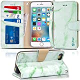 iPhone 6s Case, iPhone 6 case, Arae Apple iPhone 6 / 6s [Wrist Strap] Flip Folio [Kickstand Feature] PU Leather Wallet case ID&Credit Card Pockets (Marble Green)