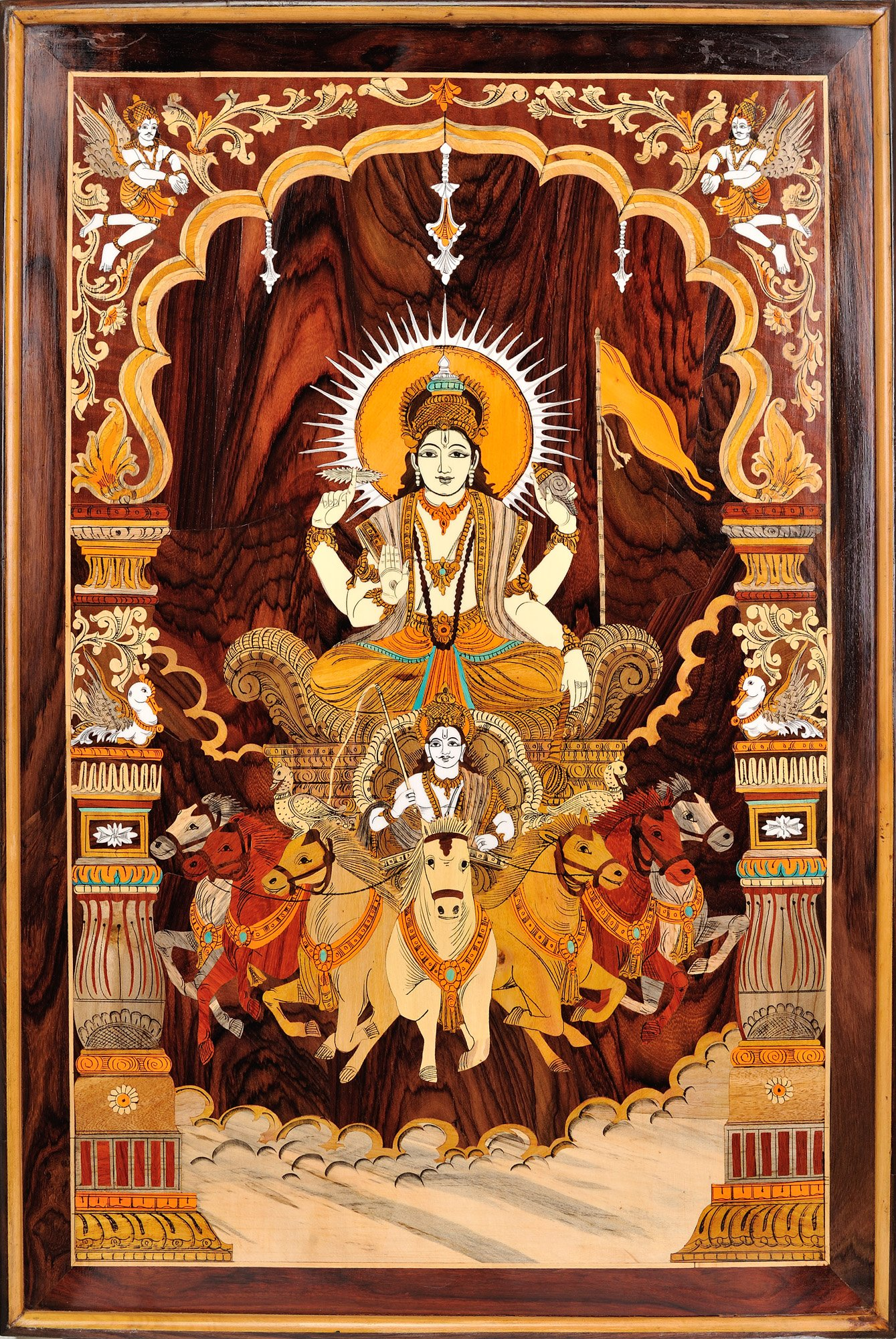 Bhagawan Surya on His Seven Horse Chariot (Framed) - Rose Wood from Mysore