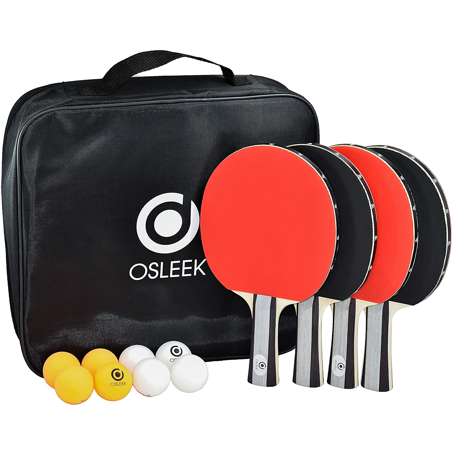 Osleek Ping Pong Paddle Set - 4 Rackets 8 Balls Professional/Recreational Table Tennis Bundle Durable 5 Layer Blade, Performance Rubber For Control, Spin & Speed Packed in Protective Travel Case B07B2T6R63